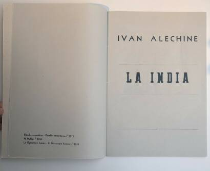 Ivan Alechine,LA INDIA (SIGNED EDT OF 90 copies)